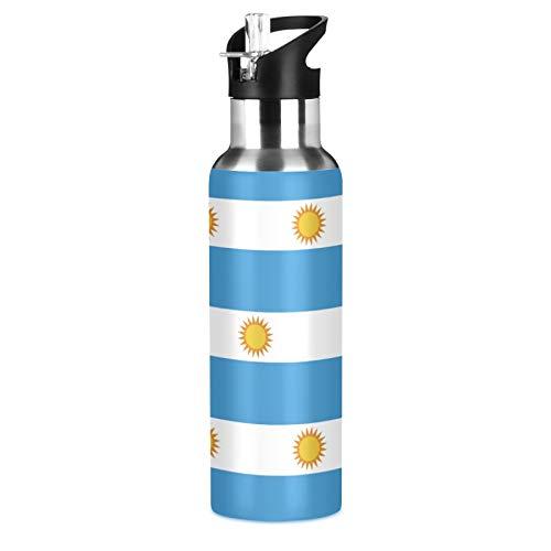 Botella de agua deportiva de acero inoxidable 304 con diseño de bandera de Argentina, con pajita (600 ml)