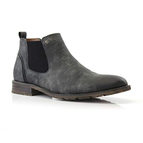 Ferro Aldo Sterling MFA606325 Mens Casual Chelsea Slip on Ankle Boots Charcoal