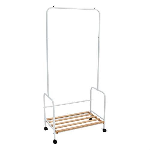 Amazon Basics - Perchero para ropa de acero con estante de madera y ruedas
