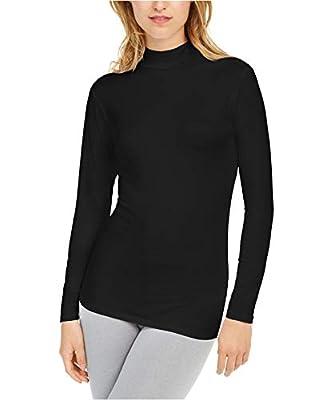 32 Degrees Women's Cozy Heat Mock-Neck Top (Large, Black)