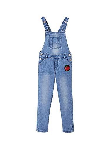 Vertbaudet Mädchen Jeans-Latzhose mit trendigen Badges Blue Stone 158