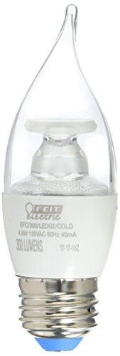 Feit Electric EFC/300/LED/COLD Electric Dimmable Led Bulb, 40 W, 120 Vac, E26 (Medium) Base, Warm, 300 Lumens, 25000 Hr, White