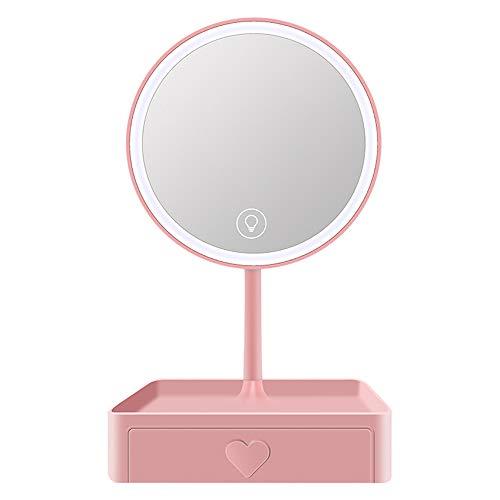 LED mirror Miroir de Maquillage illuminé Miroir de beauté USB Miroir de Maquillage de Bureau Trois Vitesses Configuration réglable Cinq Fois la Base de la loupe Peut être stockée