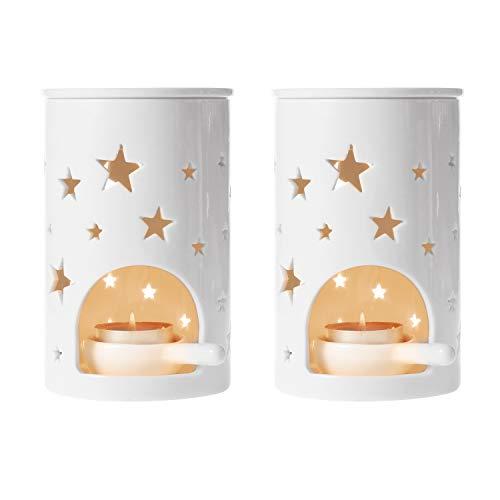ComSaf Duftlampe Keramik Weiß mit Kerzenhalter 2er-Set - Sternenmuster Zylinder