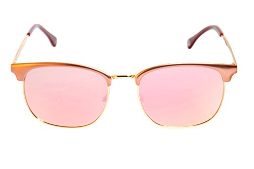 Lois - Melisa PI Pink, Gafas de Sol Moda Unisex Metal, Rosa/Rosa Espejo Polarizada unisex clubmaster polarizado Rosa