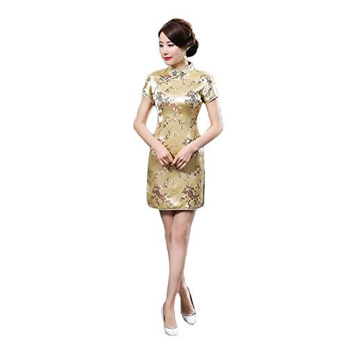 Kalaokei Chinesische Cheongsam, Vintage-Stil, Pflaumenblüte, Fotografie, Minikleid für Bankett, goldfarben, 3XL/42