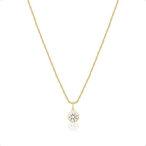 Cordão Feminino Ouro 18k 750 45cm Ponto De Luz Zircônia 6mm Branco