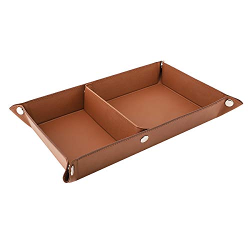 Luxspire Valet Tray, PU Leather Tray, Catchall Tray, Men Women Jewelry Key Tray, Removable Two Compartments Desk Storage Plate for Key Coin Phone Jewelry Wallet - Brown