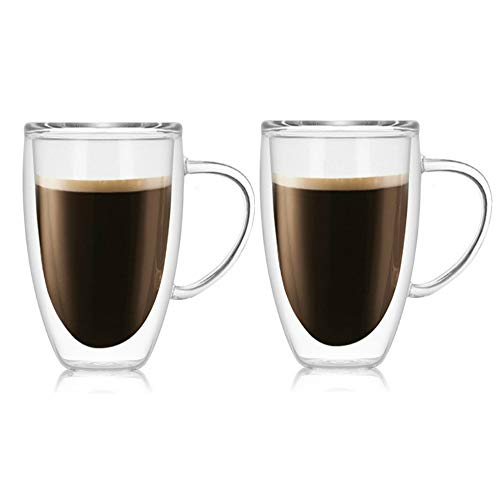 2 Pack Glass Espresso Mugs, Double Wall Thermo Insulated Glass Coffee Cups, Glass Coffee Mugs (450ML/15oz)