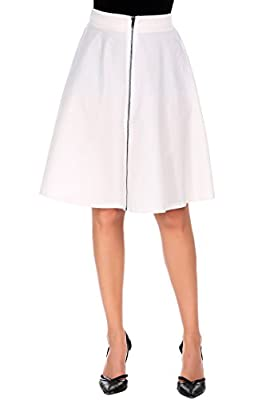 Shine Front Zipper Flare Skirt High Waist Stretch Knee Length A Line Skirt for Women