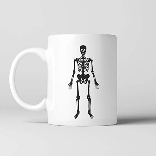 N\A Taza de café Esqueleto, Taza de cerámica, Taza de Cacao Caliente, Caldo, cerámica, té, Taza novedosa, gótico, macabro, cráneo, esquelético, Halloween, Huesos