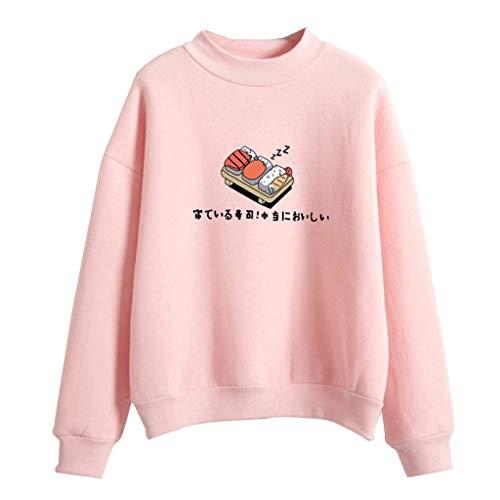 JAGENIE Frauen Winter Hoodies Candy Farbe Cartoon Kawaii Sushi Japanischen Druck Sweatshirt Verdicken Fleece Harajuku Pullover Lose Trainingsanzug 8 Farben