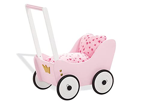 Pinolino Puppenwagen Prinzessin Lea, aus Holz, mit Bremssystem, Lauflernhilfe mit gummierten Holzrädern, für Kinder von 1 – 6 J, rosa, weiß und gold