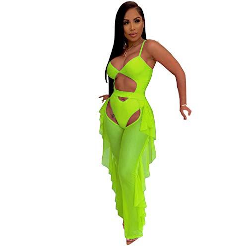 ECHOINE Women Sexy Sheer Mesh 2 Piece Outfits Ruffle Long Pants Beach Swimsuit Bikini Cover up Green M