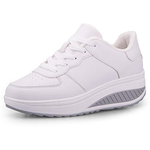 Mujer Adelgazar Zapatos Calientes Fur Botines Sneakers Zapatos de Plataforma de Cuña de Fitness Zapatos de Andar Impermeable Anti Deslizante Zapatos Blanco-Bajo(Piel Forrada) 37 EU