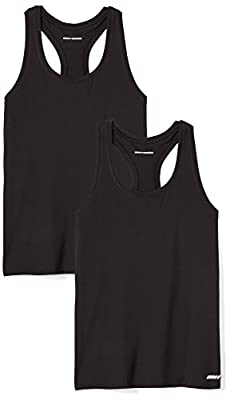 Amazon Essentials Women's 2-Pack Tech Stretch Relaxed-Fit Racerback Tank Top, Black, Medium