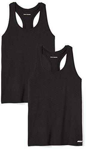 Amazon Essentials Women's 2-Pack Tech Stretch Relaxed-Fit Racerback Tank Top, Black, Medium
