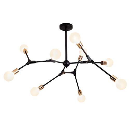 Lámpara de araña moderna, lámpara de techo, iluminación de habitaciones, para comedor, habitación, salón, cocina, restaurante, bombilla no incluida, bombilla E27, 9 cabezales, color negro, 220 V