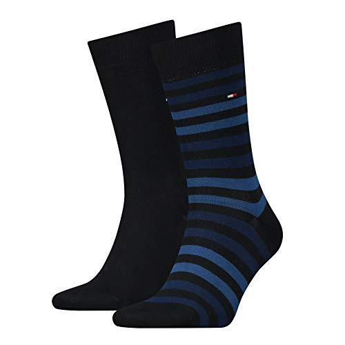 Tommy Hilfiger Herren TH Men Duo Stripe 2P Socken, Blau (Dark Navy 322), 43/46 (2er Pack)
