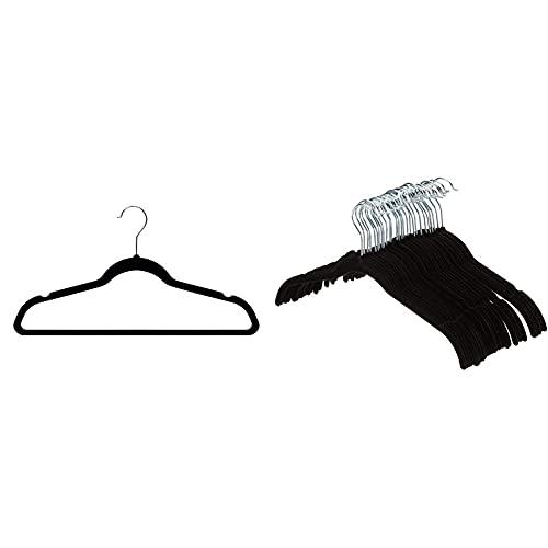 Amazon Basics Kleiderbügel für Anzug / Kostüm, mit Samt überzogen, 30er-Pack, Schwarz & Kleiderbügel für Hemd / Kleid, mit Samt überzogen, 30er-Pack, Schwarz