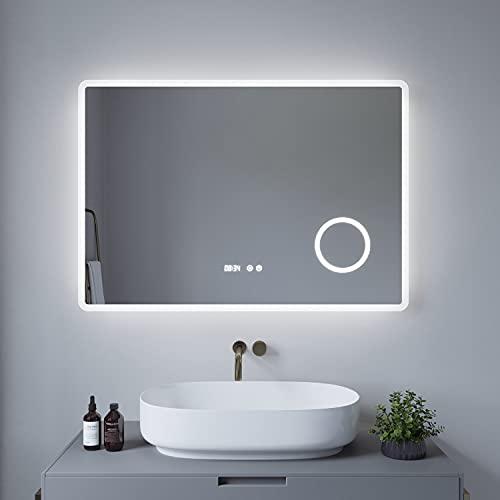 AQUABATOS® Badezimmerspiegel BORAS-Serie 100x70cm Typ D Badspiegel mit Beleuchtung Antibeschlag Kosmetikspiegel Schminkspiegel 3 Fach Vergrößerung Digital Uhr Touch Schalter Dimmbar Kaltweiß 6400K