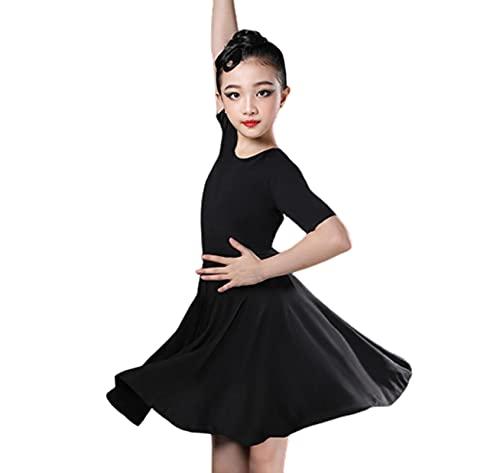 ZYLL Vestido de Baile Latino para niña, Trajes de Baile Latino para niñas, Traje de Baile de salón, Vestidos de Tango, Ropa para actuación en el Escenario de Baile,Negro,XS