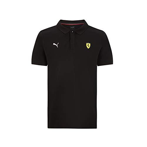 Ferrari - Mercancía Oficial de Fórmula 1 2021 Colección - Hombre - Classic Polo - Manga Corta - Negro - XS