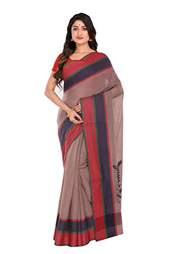Tantuja Bengal Handloom (A Govt. of West Bengal Enterprises) Handloom Cotton Made Red Coloured Ethnic Wear For Women's-011HNO2090-Red