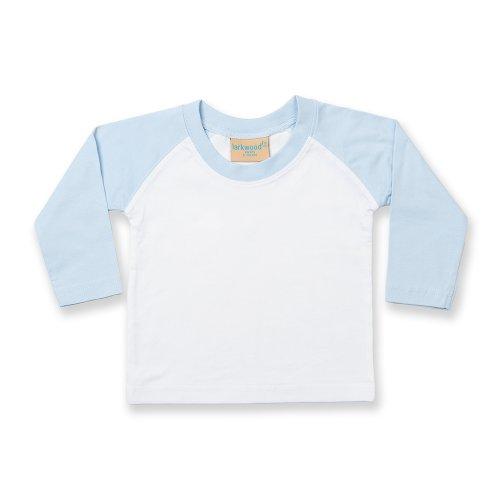 Larkwood - T-shirt de baseball à manches longues 100% coton - Bébé unisexe (18-24 mois) (Blanc/Bleu pâle)