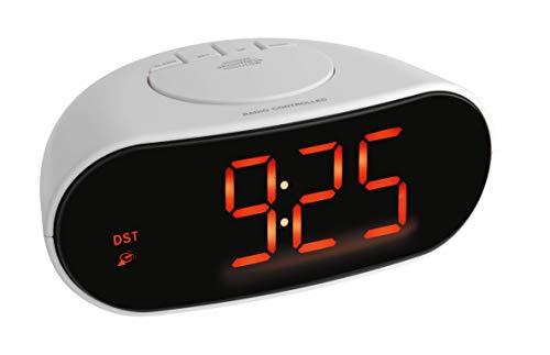 TFA Dostmann Digitaler Funk-Wecker mit Leuchtziffern, Kunststoff, Weiß, Schwarz, L178 x B106 x H149 mm