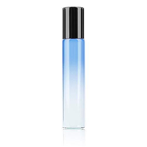 DDSP 1 botella recargable de aceite esencial de 10 ml de color degradado, botella de acero inoxidable, botella de bola de rodillo de viaje, perfume de vidrio (color: 01, material: vidrio)