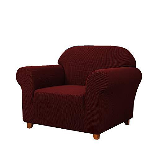 SAMSTEX Stilvoller 1-Sitzer-Sofabezug, Stretch, 1-teilig, hochdehnbar, maschinenwaschbar, rutschfest, universal, Sofaschonbezug, dick, weich, für Sessel, Sofaschoner (1-Sitzer, weinrot)