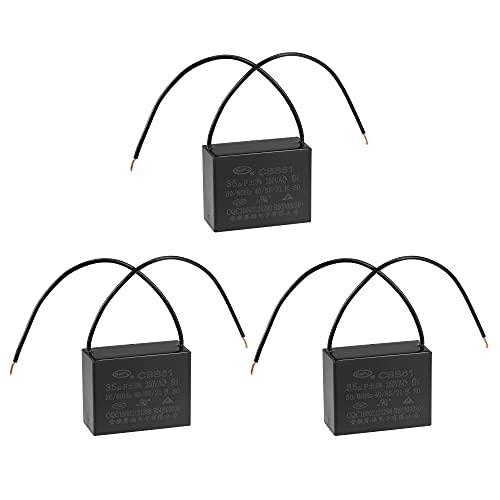 sourcing map Techo Ventilador Condensador CBB61 35uF 250V AC 2 Cables Metalizado Polipropileno Película Condensador 58x45x26mm para Eléctrico Ventilador Bomba Motor Generador 3uds