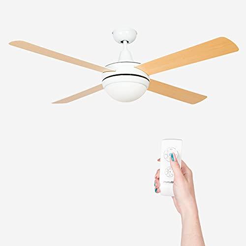 UNIVERSALBLUE | Ventilador de Techo Blanco con Luz Silencioso | Mando a Distancia | 4 Aspas Reversibles | Diámetro 106 cm | Potencia 60 W | Temporizador | 3 velocidades