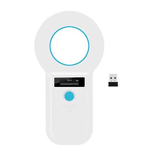 Bluetooth Haustier Mikrochipscann, Tierchip Lesegerät Chipleser Hunde Chip Scanner Katze 134.2kHz/125kHz FDX-A/FDX-B/EMID/HDX Verbinden Sie sich über Bluetooth mit Mobiltelefon und PC (White)