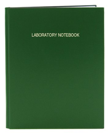 """BookFactory Green Lab Notebook/Laboratory Notebook - 96 Pages (.25"""" Grid Format) 8 7/8"""" x 11 1/4"""", Green Cover, Smyth Sewn Hardbound (LIRPE-096-LGR-A-LGT1)"""