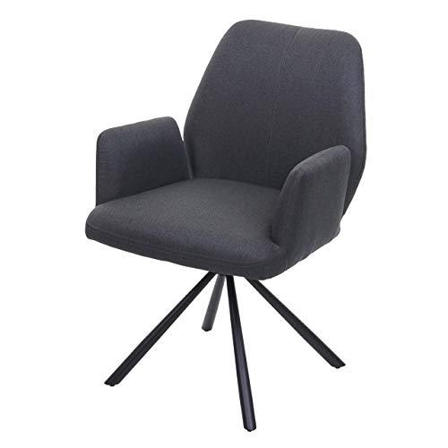 Mendler Esszimmerstuhl HWC-H71, Küchenstuhl Lehnstuhl Stuhl, drehbar Auto-Position Stoff/Textil Stahl ~ dunkelgrau