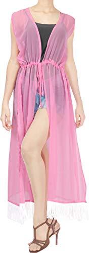LA LEELA Chiffon Kimono Cardigan Lungo Donna Estivo Pizzo Boho Copricostume Abito da Mare Spiaggia per Costumi da Bagno Cape Bikini Cover Up Rosa_B799