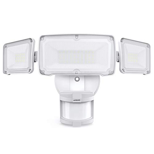 LEPOWER 35W LED Security Lights Motion Sensor Light Outdoor, 3500LM Motion Security Light, 5500K, IP65 Waterproof, 3 Head Motion Detected Flood Light for Garage, Yard, Entryways (NOT Solar Powered)