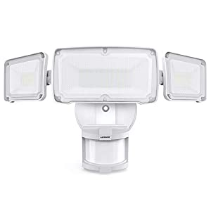 LEPOWER 35W LED Security Lights Motion Sensor Light Outdoor, 3500LM Motion Security Light, 5500K, IP65 Waterproof, 3 Head Motion Detected Flood Light for Garage, Yard, Porch (White)