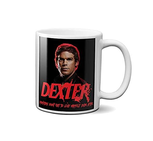 Dexter - Taza de cerámica para cumpleaños, Navidad, Halloween, tazas de café, té, tazas grandes para bebidas calientes