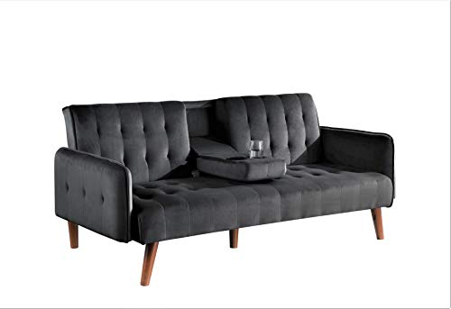 Container Furniture Direct Cricklade Convertible Sofa Bed, Black
