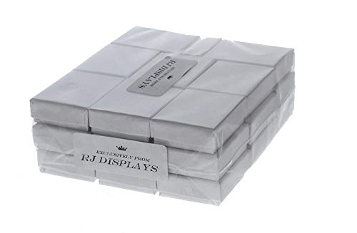 """50 Pack Cotton Filled White Color Jewelry Gift and Retail Boxes Jewelry Pendant Earring Necklace Bracelet Gift Packaging Box 2 1/8"""" x 1 5/8"""" x 3/4"""" Inches Size #11-by RJ Displays"""