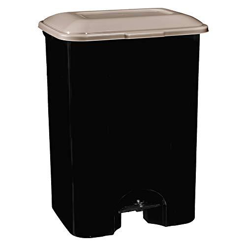 COM-FORT HOUSE | Cubo de Basura con Pedal | Capacidad de 80 litros | Cubo Reciclaje | Color Negro | Cubo de Basura Orgánico Cocina | 1 unidad | Piezas Extraíbles | Limpieza Fácil |