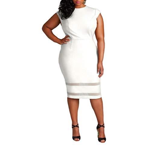 Großes Damen Kleid Solid Mesh Genähter Rock Gr. XXX-Large, weiß