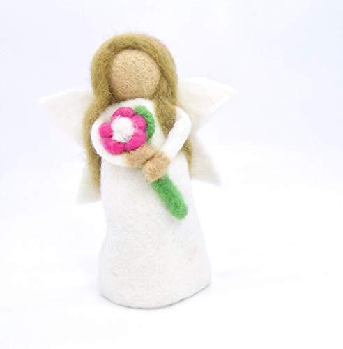 feelz - Filzfigur Engel mit Blume, gefilzte Weihnachtsdeko, Filzengel weihnachtlicher Eierwärmer - Fairtrade