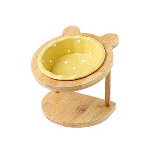 Katze und Hund Schüssel Keramik Regal einzige Schüssel Esstisch for Katzen- und Hundegeschirr mit zervikalem Schutz (Color : Yellow)