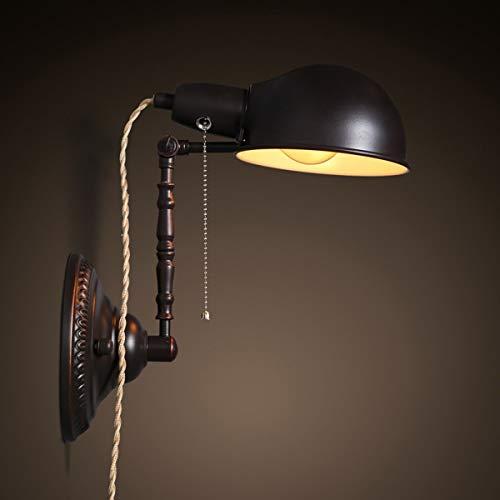 YINGGEXU Lámpara de Pared de Aplique de la Pared de la Vendimia nórdica Loft Shade Industrial lámpara de Pared del Hierro Creativo de Habitaciones Ajustable Cafe de Estar Claro, Negro Decorativo