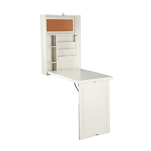 SEI Furniture Fold Out Convertible Desk 22' Wide - Wall Hanging Space Saving - Antique White Finish