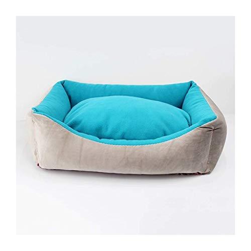 Knuffelhol hondenbed kennel huisdier-bed-blauw minimalistisch kattenbed sofa hondenbed slaapzak korte pluche slaapkussen warm 56 * 46*H16CM